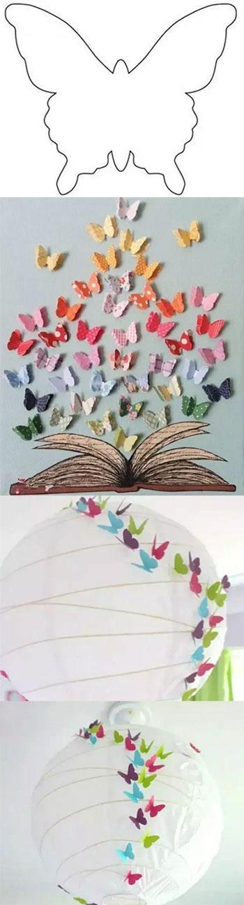 制作步骤:        1,蝴蝶模板图用彩纸打印,大小随意调,你